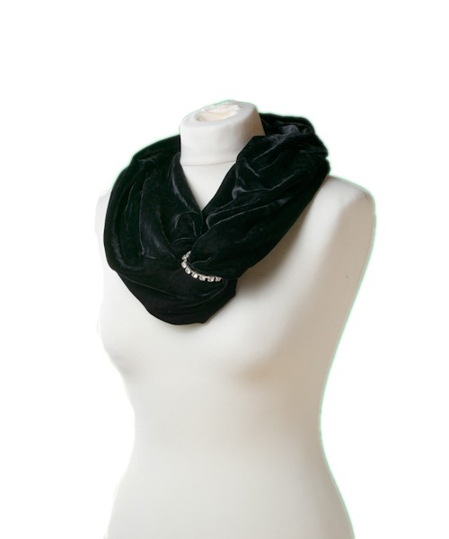 Snood Silk Velvet Diamante Black