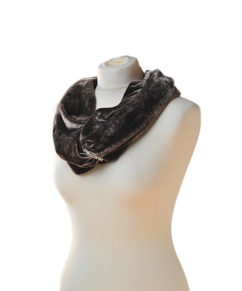 Snood Silk Velvet Diamante Rose Black