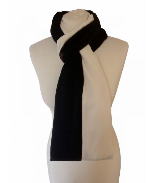 Classic Silk Velvet Scarf Striped Black & White