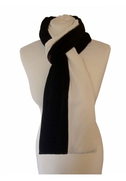 Classic Silk Velvet Scarf Striped Black & White