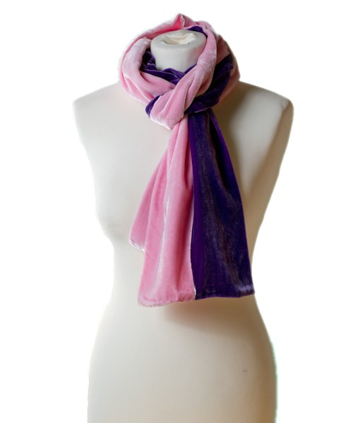 Classic Silk Velvet Scarf Two Stripes